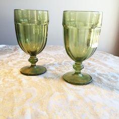 Green Glass Water Glasses / Vintage Stemware by vintagepoetic