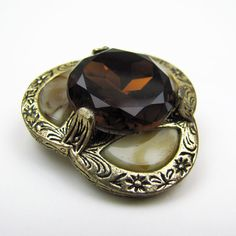 Vintage Scottish Agate Citrine Brooch. Victorian by MercyMadge