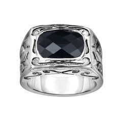 Ring Silver Black Rhodium Finish Black Onyx
