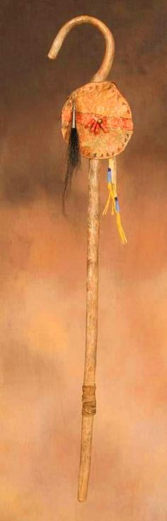 Coup Stick 19th Century, Plains Tribes.  A device carried by hand that was used to strike an enemy at close range to show fearlessness, prowess, skill.