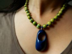 Tagua Acai Necklace  Indigo Blue & Apple Green / eco-friendly jewelry