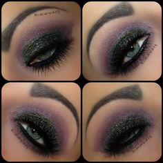 @Sheila Milani Cosmetics liquideye liquid like eyeliner black onto the whole lid, add different glitters, i used @Laura Ruth n wild megasparkle lilac frost & a black & silver nail art glitter. Blend the whole thing out with @stilabeauty single shadow 'Amethyst', also add it along the lower lashline. Add @Laura Ruth n wild single shadow 'Brulee' to to your browbone. Add falsies to top & bottom lashesツ ⇨⇨⇨et voila, my 'Galaxy' is done! ♥♥♥  @theamazingworldofj
