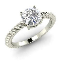 Round VVS Diamond  Solitaire Ring in 14k White Gold
