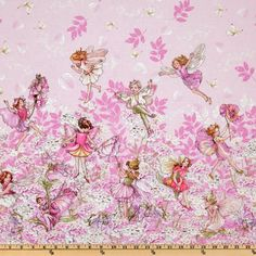 Michael Miller Petal Flower Fairies Double Border Stripe Pink from @fabricdotcom  Licensed by the Estate of Cicely Mary Barker to Michael Miller Fabrics, this cotton prints features a double border of delicate flower fairies in colors of ivory, pink, lavender and green.  The stripe is vertical to the selvedge. The depth of the border at the highest point is 16.00''. Use for quilting and craft projects.