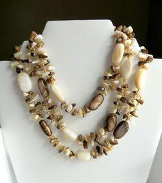 Brown & White Quartz Necklace Japan Triple Strand Vintage