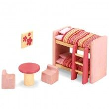"""Pintoy: """"Children's Bedroom"""" Dollhouse Furniture Wooden Accessory Set compatible with Doll Houses from Pintoy, Plan Toys, etc. Plan Toys, Furniture Manufacturers, Dollhouse Furniture, Bedroom Sets, Bedroom Furniture, Home Accessories, Dolls, Pillows, Doll Houses"""