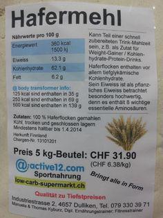 Instant Oats (Hafermehl) AKTION jetzt 5 kg bestellen, 3 kg + 3 kg erhalten! TOP PREIS - nur CHF 24.99