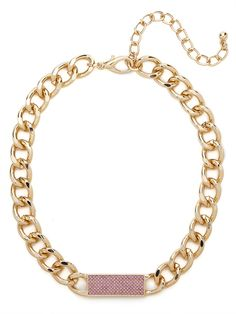 our pink chain tab necklace from the Courtney Kerr collection!