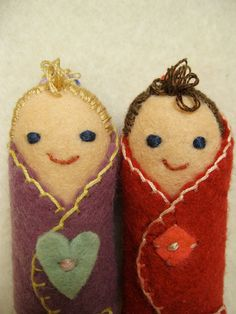 Blanket Baby doll miniatures fraternal twins. by AntheaArt on Etsy