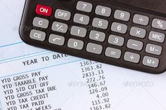Calculator and payroll ...  account, accounting, banking, budget, business, calculate, calculator, counting, financial, office, paper, paperwork, payout, payroll, payslip, printout, profit, report, salary, spreadsheet, statement, tax, wage, workspace
