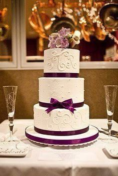 purple ribbon 3 Tier Wedding Cakes | Wedding Cake Purple Ribbon Touch