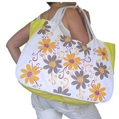 Find the huge selection of beautiful designer large shoulder bags in a range of different colors, style & sizes. Orange Grey, Yellow, Grey Flowers, Large Shoulder Bags, Beach Look, Large Bags, Silver Glitter, Tote Bag, Floral