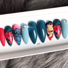 Lilo and stitch nails - Long Nail Designs - Disney Acrylic Nails, Summer Acrylic Nails, Best Acrylic Nails, Disney Nails, Fall Nail Art Designs, Acrylic Nail Designs, Cartoon Nail Designs, Disney Inspired Nails, Monster Nails