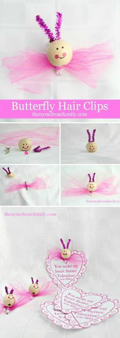 Butterfly Hair Clips with Free Printable Valentine