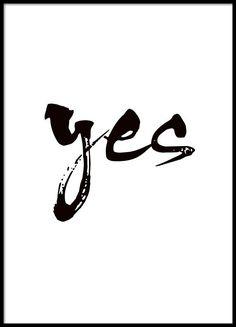 Plakat mit schwarz-weißer Typografie, Yes.