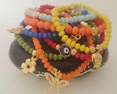 Gold Charm Bracelet Set of 3/Stacking Crystal by LTLDizaynDIY