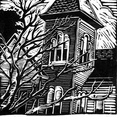 Victorian House Linocut Print Block Print Linoleum by Woodcut Art, Linocut Prints, Art Prints, Block Prints, Linoleum Block Printing, Tinta China, Monochrom, Tampons, Victorian Homes