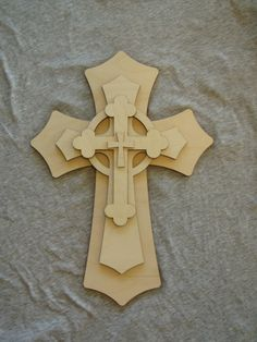 Unfinished Wood Layered Cross Stacked Wooden Crosses Part Lc15-160