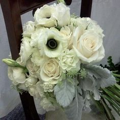 shabby chic wedding bouquet with anenomes and dusty miller by LA designer www.houseofmagnolias.net