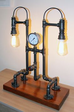 Industrial Steam Punk Pipe lamp high about 70 cm on wodden postamt