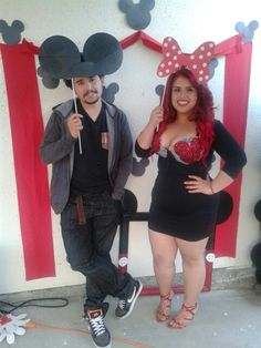 Mickey Mouse  Minnie Mouse photo booth props. (: