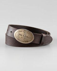 Wish List- Saffiano Leather Belt, Brown - Neiman Marcus