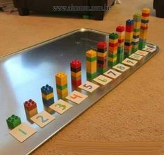 Two Preschool Math Activities with Duplo Legos - Frugal Fun For . Two preschool math activities using Duplo Legos. These are great for younger brother while the older ones do their schoolwork! How to Teach Your Child to Read - Two independent activities f Preschool Learning Activities, Montessori Activities, Preschool Activities, Kids Learning, Space Activities, Montessori Elementary, Kids Education, Health Education, Physical Education