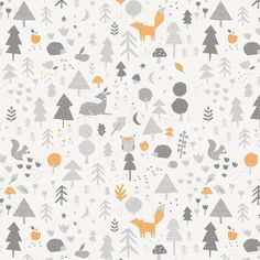Light Orange and Silver Gray Baby Woodland Fabric by Carousel Designs.