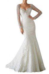 Gorgeous Bride Elegant Aermel Spitze Tuell Perlen Meerjungfrau Brautkleider Lang Hochzeitskleider -44 Elfenbein