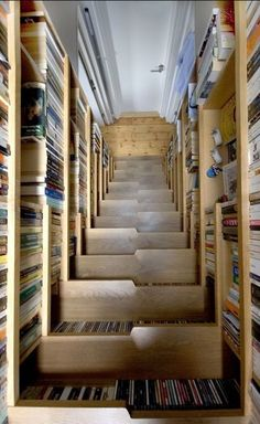 the staircase of books ingenuity of this storage method. London Architects Levitate, who specialise in developing sustainable architecture, developed this book/staircase with a view to saving space. Staircase Bookshelf, Space Saving Staircase, Stair Shelves, Modern Staircase, Staircase Design, Book Shelves, Stair Storage, Staircase Storage, Attic Stairs