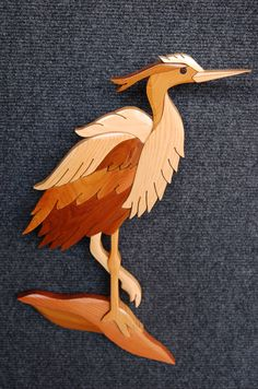 HERON Small Intarsia Art Carving by GielishWoodSculpture on Etsy