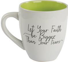 "[""Use this coffee mug for your favorite hot beverage this winter. This mug is a daily reminder to let your faith be bigger than your fears, and that you can do anything through Christ. The mug is white with a green interior. <br><br><b>Product Details: <\/b><br>Dimensions: 5\"" (L) x 3.75\"" (W) x 4\"" (H)<br>Weight: 0.85 pounds<br>Material: Ceramic<br>Holds up to 13 ounces<br>Green<br>Front: \""Let Your Faith be Bigger Than Your Fears\""<br>Back: \""For I can do everything through Christ, who…"