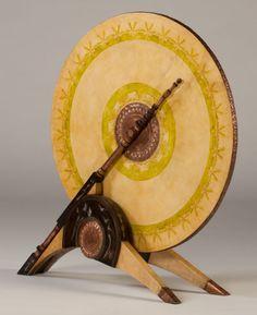 CARLO BUGATTI. A Rare Pewter, Copper, and Painted Parchment Inlaid Walnut Firescreen, circa 1900.
