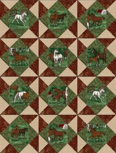 This easy to sew western outdoors horse quilt kit in earth tone colors feature…