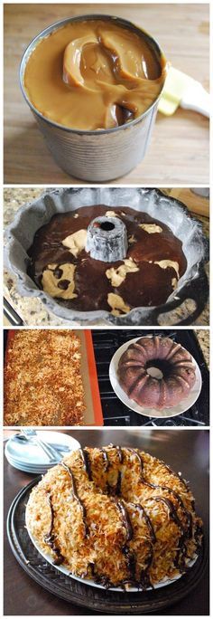 Samoa Bundt Cake--Used the frosting and topping recipe on a regular from the box chocolate cake - AMAZING!!!!