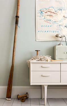 Farrow & Ball Light Blue Estate Emulsion on walls + Skimming Stone Estate Eggshell painted sideboard, Farrow & Ball's Key Colours For 2015 - The Chromologist Interior Trend, Oval Room Blue, Light Blue Walls, Farrow And Ball Paint, Farrow Ball, Room Colors, Trending Decor, Wall Color, 2015 Decor