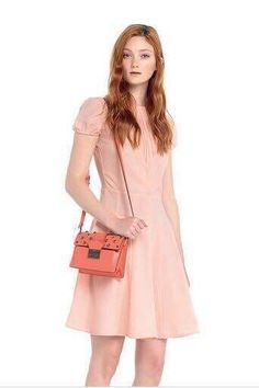 Nwt Red Valentino BOW DETAIL CREPE DRESS fit and flare with short puffy sleeve #REDVALENTINO #fitandflare #Casual