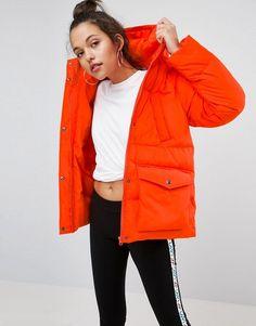 ASOS Puffer Jacket With Pocket Detail - Orange