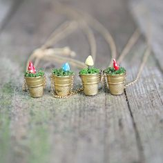 DIY Mini Vintage Thimble Planter Necklaces.  Using thimbles would be a great idea for Fairy House potted plants!