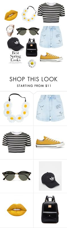 """Dazy daze yellow flowers corn"" by emmvlk ❤ liked on Polyvore featuring beauty, New Look, Topshop, Converse, Ray-Ban, adidas, Lime Crime and H&M"