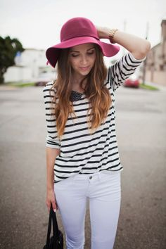 black and white striped jersey top with peter pan collar and white jens