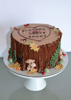 Tree Stump Groom's Cake with edible woodland decor, including acorns, ladybugs… Pretty Cakes, Beautiful Cakes, Amazing Cakes, Woodland Theme Cake, Woodland Decor, Tree Stump Cake, Log Cake, Tree Cakes, Novelty Cakes