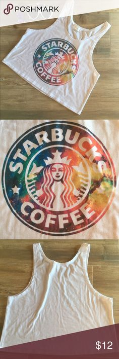 Starbucks Crop Top Rainbow Starbucks Crop Top perfect for a workout or Netflix and chill . Flexible size so can fit size Small to Large. Check out my closet for great bundle deals! Yotta Kilo Tops Crop Tops