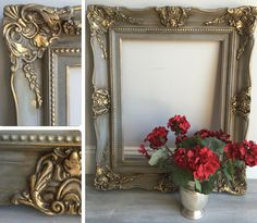 "Ornate vintage wood picture frame painted in Annie Sloan Chalk Paint French Linen & Duck Egg Blue & sealed with Annie Sloan Clear Wax. I added Annie Sloan Dark Wax to make the details pop. I used gold gilding wax to add a little sparkle. Size: 24"" x 28.5"" x  2.5"". Holds picture size 15.5"" x 19.5"". ~ $145 by RelovedHomeDesigns on Etsy https://www.etsy.com/listing/452227276/reloved-refurbished-wood-vintage-ornate"