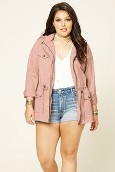 Forever 21+ - A midweight woven utility jacket featuring a zipped button front…