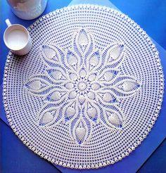Crochet Art: Crochet Pattern Of Beautiful Lace Table-Center Crochet Tablecloth Pattern, Crochet Placemats, Crochet Doily Patterns, Crochet Art, Crochet Round, Cotton Crochet, Thread Crochet, Filet Crochet, Crochet Ideas