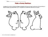 In this spring art activity, kids color and make a bunny necklace for Easter.
