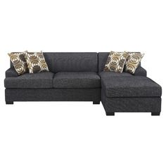 Chaise sectional in slate.   Product: SectionalConstruction Material: Wood and fabricColor: Black...