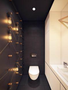 Дизайн-проект: стильный интерьер туалета с матовой черно-белой отделкой. На фото - оригинальная идея с лампами Эдисона на стене, с технической точки зрения спорная, но осуществимая