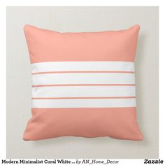 Modern Minimalist Coral White Stripes Throw Pillow Modern Minimalist, Minimalist Design, Girly Bedroom Decor, Modern Throw Pillows, Red And White Stripes, Party Hats, Art Pieces, Coral, Home Decor